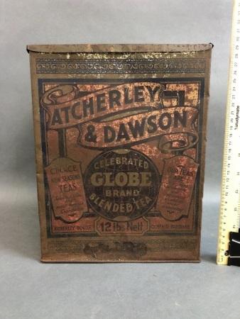 Rare Antique Atcherley & Dawson 12lbs 'Celebrated Globe Brand' Tea Tin from Queen Street, Brisbane.