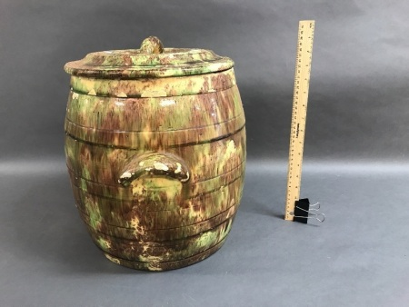 Large Early Colonial Australian Pottery Bread Crock Sponge Painted