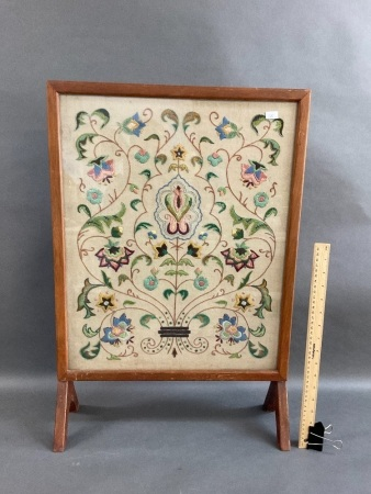 Vintage Finely Embroidered & Timber Framed Firescreen