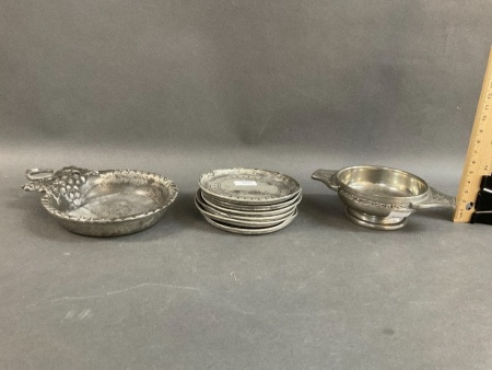 Collection of Antique Italian Pewter Bowl & 6 Coasters + Modern Scottish Pewter Bowl