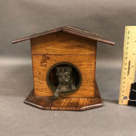 Antique Dog Kennel Trinket Box with Cast Metal Dog