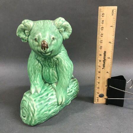 Vintage Sylvac Matt Green Koala on Log