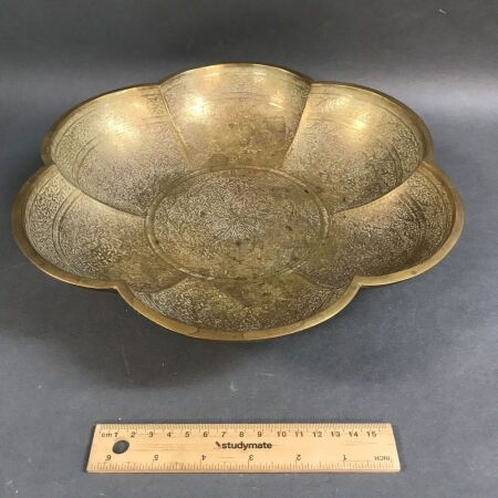 19th Century Indian Incised Brass Bowl