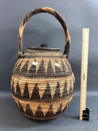 Large Vintage Buka Basket with Handle
