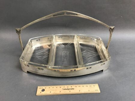 WMF, Art Nouveau EPNS & Glass Serving Dish c1910