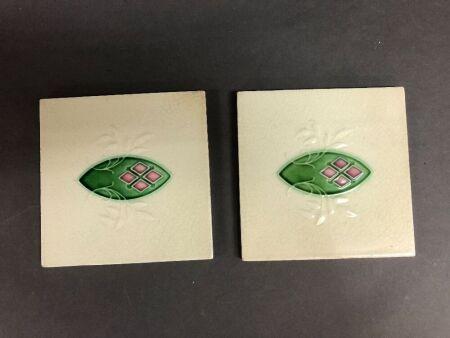 2 Art Nouveau Glazed English Pottery Tiles