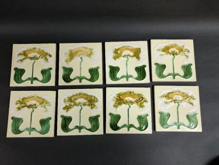 8 x John Burgess Art Nouveau Style English Glazed Pottery Tiles