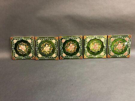 5 x Victorian English Majolica Glazed Tiles